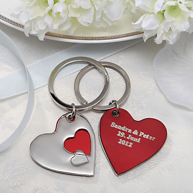 [$9 99] Personalized Key Ring – Layered Hearts (Set of 4)