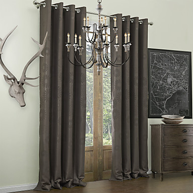 Rod Pocket Grommet Top Tab Double Pleat Two Panels Curtain Neoclassical Embossed Polyester Material Blackout Curtains Drapes Home 740043 2018 5401