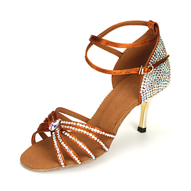 1aa23828e21017 Women s Satin Ankle Strap Latin   Ballroom Dance Shoes With Rhinestone  (More Colors) 582506 2018 –  52.99