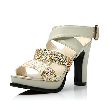 Zapatos de tacón medio de PU con lentejuela BESmsAJG