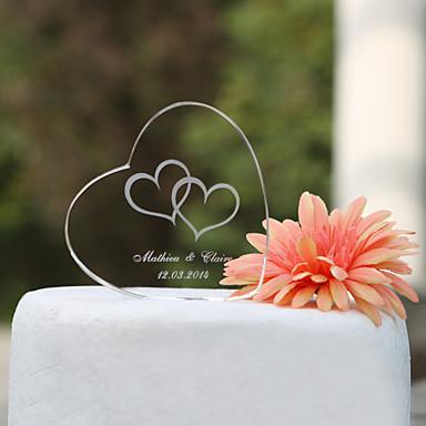 preiswerte Gastgeschenke-Tortenfiguren & Dekoration Garten Klassisch Herzen Klassisches Paar Krystall Hochzeit Jahrestag Brautparty mit Geschenkbox