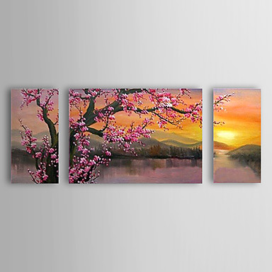 cheap Prints-Oil Painting Hand Painted - Floral / Botanical Classic / Traditional Canvas / Stretched Canvas
