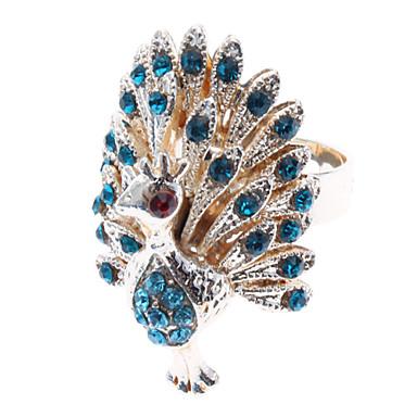 billige Motering-Dame Statement Ring Syntetisk Diamant Blå Gylden Fuskediamant Legering damer Uvanlig Luksus Daglig Smykker Påfugl