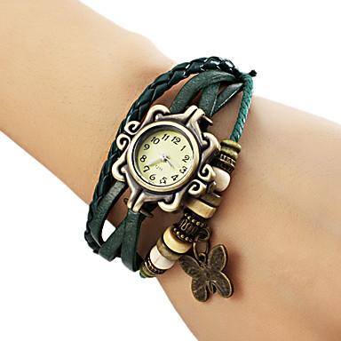 levne Dámské-Dámské dámy Náramkové hodinky hodinky zábalu Křemenný Z umělé kůže Černá / Modrá / Hnědá Hodinky na běžné nošení Analogové Motýl Cikánské Módní - Hnědá Zelená Modrá Jeden rok Životnost baterie