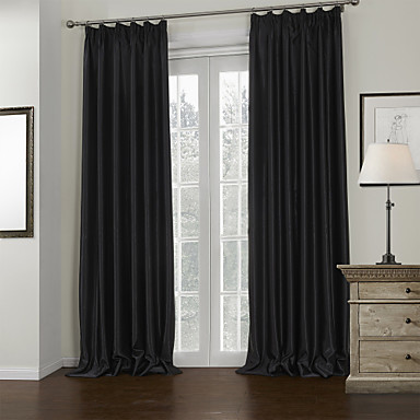 Rod Pocket Grommet Top Tab Top Double Pleated Two Panels Curtain Modern Solid Living Room