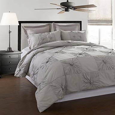 3 piece 100 cotton marlon grey hand pleated duvet cover set 695351 2018. Black Bedroom Furniture Sets. Home Design Ideas