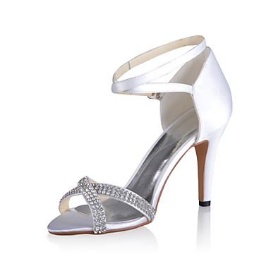 048b7035208 [$27.99] Σανδάλια Stiletto Νυφικό σατέν με στρας Γάμος / Ειδική Παπούτσια  περιστάσεις ...