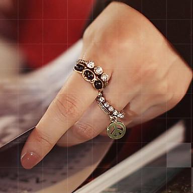 billige Motering-Dame Statement Ring Ringer Set Onyks Krystall 5pcs 1 2 Syntetiske Edelstener Legering damer Uvanlig Luksus Fest Daglig Smykker Fred