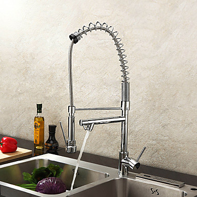 Kitchen Faucets · Contemporary Pot Filler Deck Mounted Pre Rinse Pullout  Spray With Ceramic Valve One Hole Single Handle