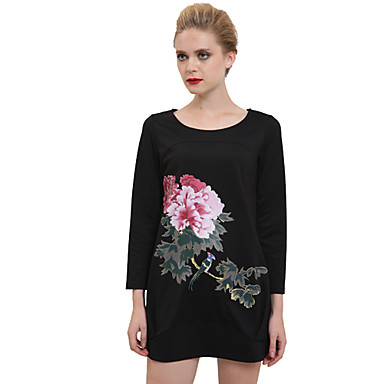 Εννέα Εμφάνιση Μαύρο Εκτύπωση Ink μακρύ φόρεμα μανίκι 728468 2019 –  76.63 a2b85dc41fa