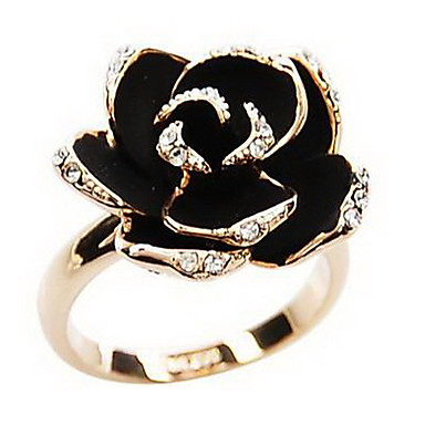 cheap Statement Rings-Women's Statement Ring Silver Golden Rhinestone Alloy Ladies Vintage European Party Daily Jewelry Artisan Roses Flower Cheap Adjustable