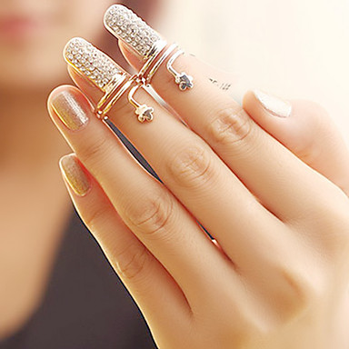 billige Motering-Dame Nail Finger Ring Sølv Gylden Strass Legering damer Uvanlig Unikt design Fest Daglig Smykker Blomst Billig