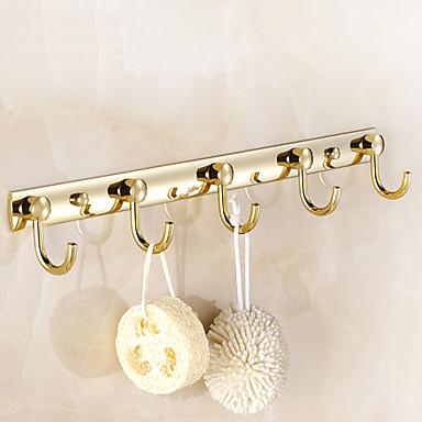 Badeværelse tilbehør guld Vægmonteret Tøj kroge (5 kroge) 748530 ...