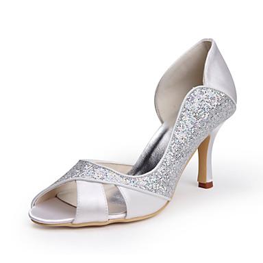 Women s Satin   Stretch Satin Summer Stiletto Heel Sparkling Glitter White    Wedding 749024 2019 –  69.99 e7fcc848fa1a