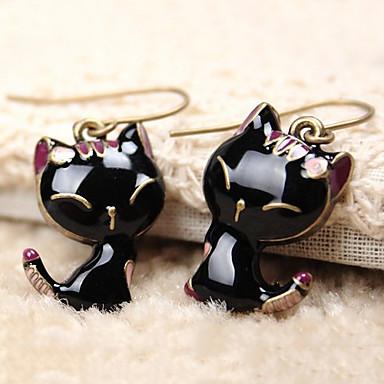 povoljno Modne naušnice-Žene Viseće naušnice Klasičan Mačka Sa životinjama jeftino Chic & Moderna Slatka Style Smola Naušnice Jewelry Crn Za Dnevno Unutrašnji 1 par