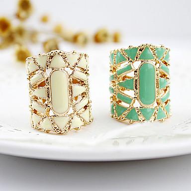 billige Motering-Dame Statement Ring Hvit Svart Grønn Akryl Legering damer Asiatisk Mote Daglig Smykker