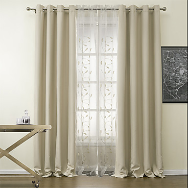Rod Pocket Grommet Top Tab Double Pleat Two Panels Curtain Modern Polyester Material Blackout Curtains D Home Decoration 788049 2018 88 99