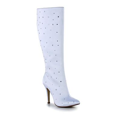 Divatos csizma - Stiletto - Női cipő - Csizmák - Esküvői - Szatén ... 4d11de877e