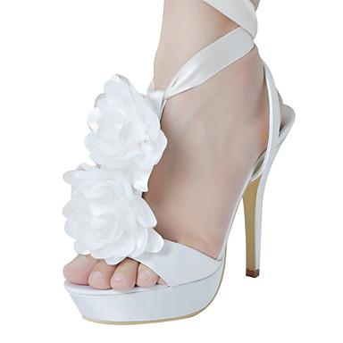 bca8f8c0cd Bela cetim stiletto com flor e fita laço Open Toe Sandálias Sapatos de  casamento (mais cores) de 793850 2019 por  32.99