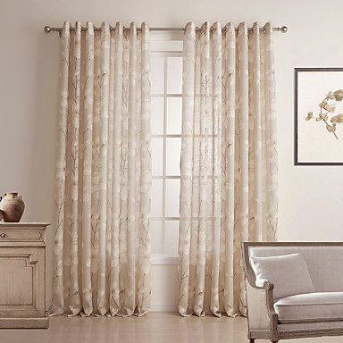 Two Panels Curtain Country Bedroom Linen / Cotton Blend Material Sheer  Curtains Shades Home Decoration For Window 483294 2018 U2013 $70.69