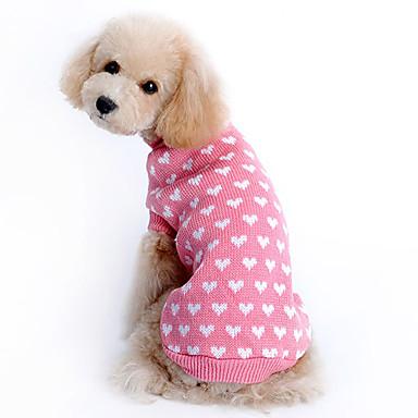 cheap Dog Clothes-Sweater Heart Keep Warm Winter Dog Clothes Pink Costume Girls' Woolen XS S M L XL XXL
