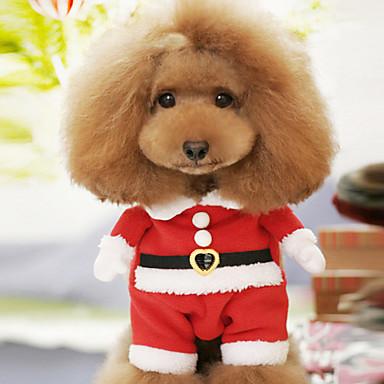 preiswerte Haustier Weihnachten Kostüm-Hund Kostüme Winter Hundekleidung Rot Kostüm Baumwolle Cartoon Design Cosplay Weihnachten XS S M L XL