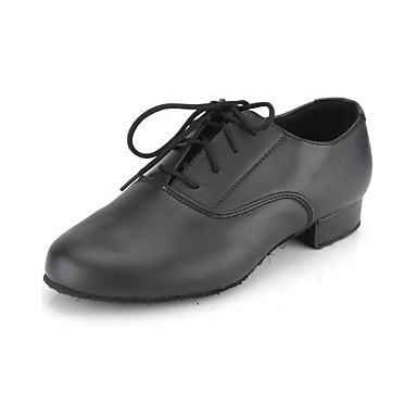 cheap Kids Dance Shoes-Men's Dance Shoes Faux Leather Modern Shoes / Ballroom Shoes Lace-up Oxford Low Heel Non Customizable Black / EU43