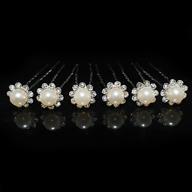 povoljno Party pokrivala za glavu-Žene Umjetno drago kamenje Legura Imitacija Pearl Glava-Vjenčanje Special Occasion Pin kose 6 komada