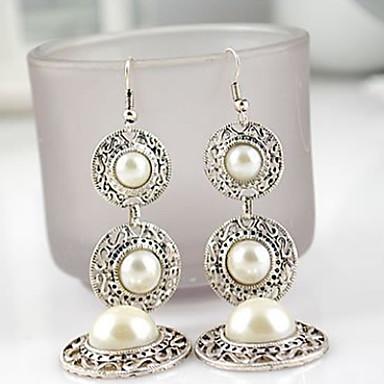 levne Dámské šperky-Dámské Visací náušnice Lustr Lidová Style Perly Napodobenina perel Náušnice Šperky Bílá / Růžové zlato Pro