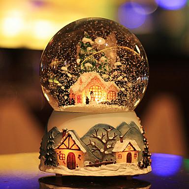 preiswerte Dekorative Objekte-Weihnachten Schneekugel Schneehaus Kristallkugel drehen leichte Spieluhr Schloss im Himmel Geburtstagsgeschenk für Freundin