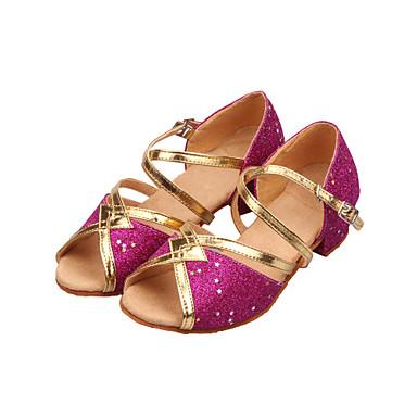 cheap Cheap Dance Shoes-Women's Dance Shoes Sparkling Glitter Latin Shoes / Ballroom Shoes Sequin / Sparkling Glitter Sandal Low Heel Non Customizable Gold / Fuchsia / Light Blue / Kid's / Suede / EU40