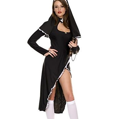 Sexy Nonne Schwarz Abbildung Flatternde Kleid Damen Kostum 663440