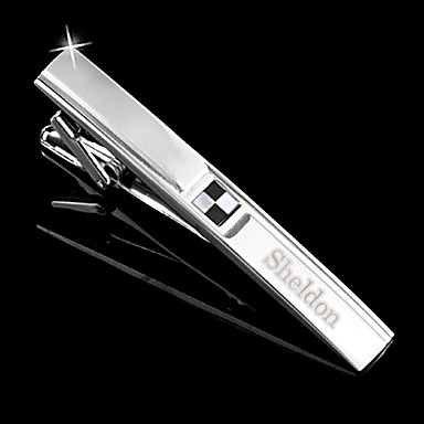 1b28a2b1eb65 Personalized Gift Men's Black and White Check Style Silver Metal Engraved  Tie Clip (within 10 characters) 1034197 2019 – $9.99
