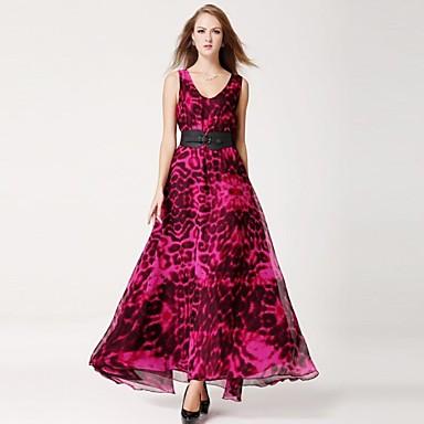Dámský V-neck hlubokým výstřihem plesové šaty Hem Plus Velikost Loose  Present páskem Společenský večer Dlouhé šaty 1055747 2019 –  45.14 a44af221e5