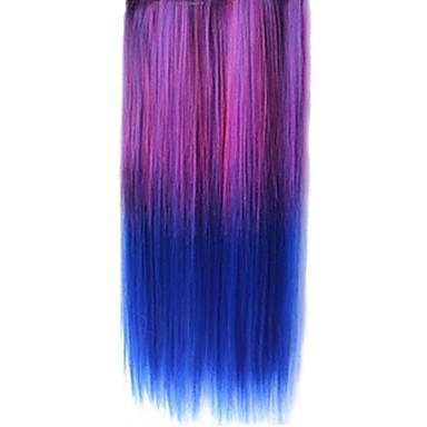 Clip 25 Inch în Sintetice Violet și Albastru Gradient Extensii De