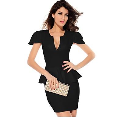 1d42cdc7ec mély v női Peplum mini ruha üreges-out fekete felső bodycon fodor szoknya  mini ruhák 1080520 2019 – $48.99