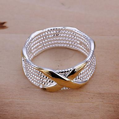 Dam Bandring Statement Ring Brun Försilvrad Cirkel Form Geometrisk damer Europeisk Party Dagligen Smycken X-ring