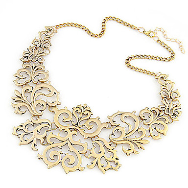 Women's Collar Necklace Statement Necklace Hollow Flower Ladies European Fashion Alloy Silver Golden Necklace Jewelry Party Daily