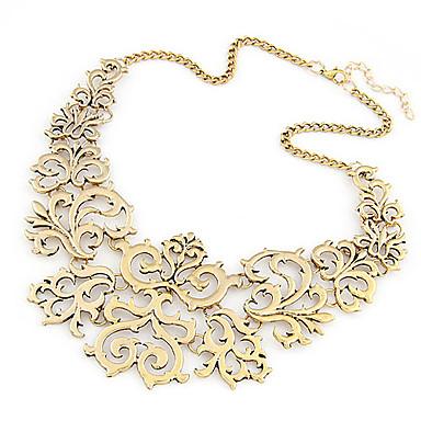 levne Dámské šperky-Dámské Límeček Prohlášení Náhrdelníky Kytky dámy Evropský Módní Slitina Stříbrná Zlatá Náhrdelníky Šperky Pro Párty Denní