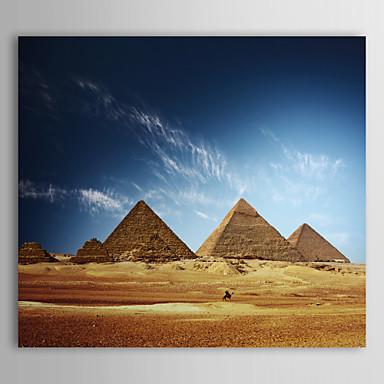 Gerilmiş Tuvale Mısır Piramitleri önündeki Sanat Peyzaj Yürüyüş
