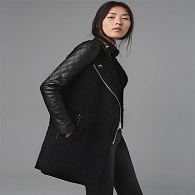 7ecbf055e71 [$54.43] Γυναικών PU δερμάτινο παλτό μανικιών