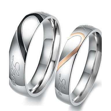 billige Motering-Damer og Herrer Parringer Forlovelsesring 2pcs Sølv Jeg elsker deg Titanium Stål damer Enkel Brude Bryllup Fest Smykker Tofargede Hjerte Kjærlighed Venskap