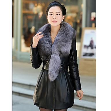 16784ef05a σάλι γιακά μακρύ δέρμα αρνιού μανίκι δερμάτινο   γούνα βιζόν παλτό γραφείου  με τσέπες (περισσότερα χρώματα) 263227 2019 –  599.99