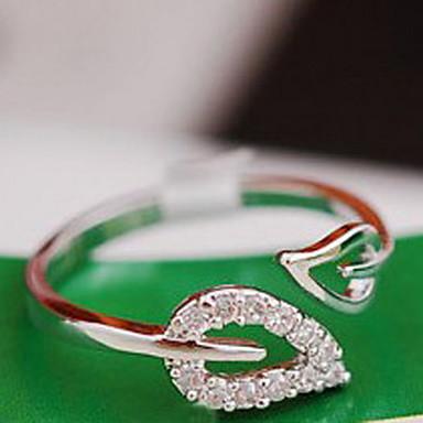 billige Motering-Dame Band Ring tommelfingerring Kubisk Zirkonium liten diamant 1pc Gull Sølv Kubisk Zirkonium Legering damer Uvanlig Unikt design Bryllup Fest Smykker Blad Formet Hjerte Billig