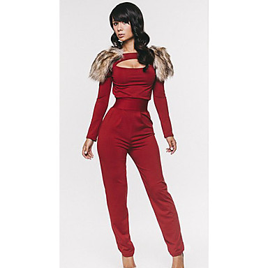 Womens Red Jumpsuits Casual Long Sleeve 1236039 2019 3149