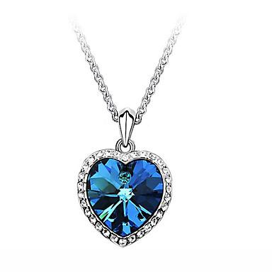 povoljno Modne ogrlice-Žene Sapphire Kubični Zirconia mali dijamant Ogrlice s privjeskom Pasijans simuliran faceter Srce Ljubav dame Moda Film Nakit Bling Bling 18K pozlaćeni Zircon Kubični Zirconia Plava Ogrlice Jewelry Za