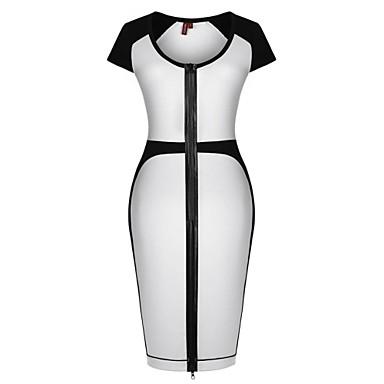 33f7a4e9e Vestidos ajustados de la rodilla del partido de cuello redondo de la Mujer  Blanco Negro Oficinas Casual Cóctel 1326874 2019 –  50.89