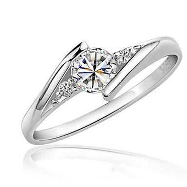 aad3db753e95 Mujer Diamante sintético Solitario Redondas HALO Anillo envolver el anillo  Zirconio Zirconia Cúbica Chapado en Plata Amor Importante damas Elegante  Anillos ...
