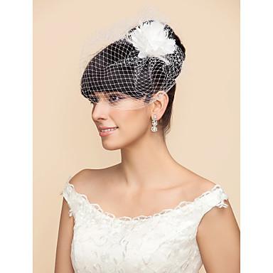 povoljno Party pokrivala za glavu-One-tier Vjenčani velovi Rumenilo Burke / Vjeverica kose s Perje / Cvijet od satena Til Retka, Ball haljina, princeza, Plašt / stupac, Truba / sirena / Kavez za ptice