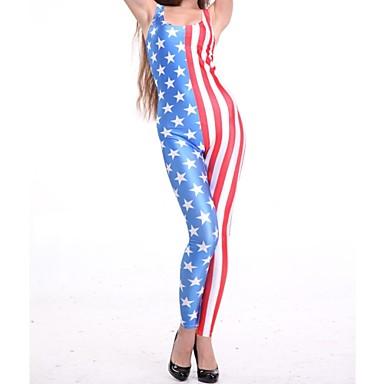 Elonbo Kadın Amerika Bayrağı Style Dijital Boyama Yüksek Waisted